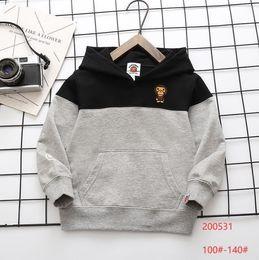 Automne Baby Boys Designer Sweats Hoodies Fashion Enfants Dessin animé Motif à manches longues Sweatshirts Enfants Capuche Casual Tops Outwear S1204 en Solde