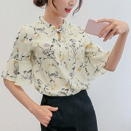 Wholesale swear shirts resale online - U SWEAR Summer Women Flare Sleeve Chiffon Blouse Shirts Fashion Floral Print Tops Female Ladies Blusas Mujer De Moda Women s Blouses