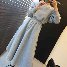 Wholesale minimalist dresses resale online - Foridol elegant New Autumn Winter Women Dresses Thicken High Elastic Waist Casual Minimalist Pockets Warm Long Dress