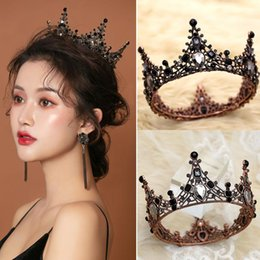 Discount european rhinestone tiara Vintage Hair Accessories Baroque Black Rhinestone Queen Crown Wedding Accessory Women Party Luxury European Style Tiara Clips & Barrettes