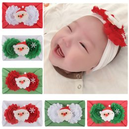 christmas santa hats wholesale Canada - Baby Christmas Hat Girl Flower Beanie Cap Head Wraps for Kids Girls Turban Headbands Newborn Toddler Lovely Santa Claus Bonnet Beanies Accessories