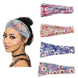 Fashion Headwear Peacock Feather Print Headband Turban Women Hair Bands CA