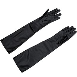 leather gloves long finger men Canada - Women's Ladies' Long Soft Artificial Leather Gloves--Black Five Fingers Gloves