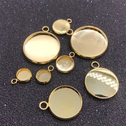 Wholesale 20pc Cabochon Setting Round 10 12 14 16 18 20 25mm Stainless Steel Bracelet Connector Blank Tray Bezel Gold Pendant Base Jewelry 852 T2