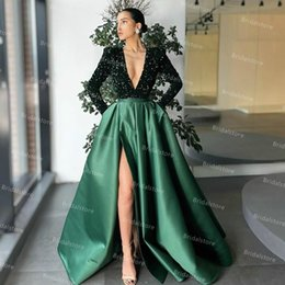 Wholesale green silk jacket resale online - Sparkly Deep V Neck Emerald Green Evening Dress Elegant A Line Silk Satin Long Sleeve Sequin Glitter Prom Dresses With High Slit Graduation Party Gowns