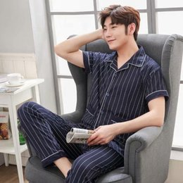 Wholesale pyjama pants men resale online - Summer Short Sleeve Long Pants Cotton Pajama Sets For Men Casual Striped Sleepwear Pyjamas Homewear Loungewear Home Clothes Men s