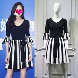Wholesale black white stripe skirts for sale - Group buy Casual Dresses Tang Yan s same dress for female Xia Korean and white stripe stitching simple temperament black skirt fashion