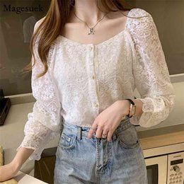 korean blouses for women Australia - Spring Korean Long Sleeve Button Woman Shirt Hollow Out Vintage Blouses For Women Square Collar Female Tops Clothes 11082 210427