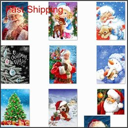 painted christmas canvas UK - 5d Diy Christmas Full Drill Rhinestone Diamond Painting Kits Cross Stitch Santa Claus Snowman qylKQM garden2010 Z6W9