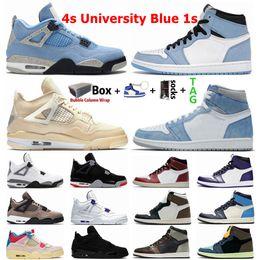 Üniversite Mavi 1 1s Hype Kraliyet UNC Erkek Basketbol Ayakkabı Obsidiyen Yelken Kara Kedi Bred 4 4s Beyaz Çimento Ne Guava Buz Kadın Sneakers