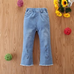Wholesale girls flared jeans resale online - Sale Children s Cotton Blend Clothing Girls Jeans Summer Clothes Korean Version Denim Flare Trousers For Years D30