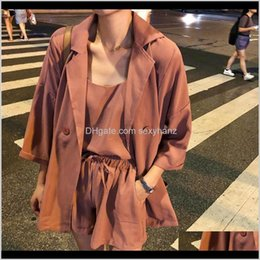 two piece set pants NZ - Womens Two Pants 3 Piece Women Suits Long Sleeve Coats Elastic High Waist Dstring Shorts Suit Summer Office Lady Korean Solid Set Qryt Q46Ry