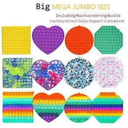 Wholesale Mega Jumbo Rainbow Tie dye Bubble Poppers Board Fidget Sensory Push Pop Finger Game Puzzle Toys Poo-Its Large Big Size with Carabiner key ring bag pendant H4237HX