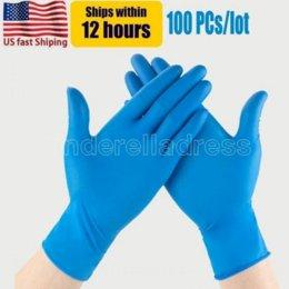 Опт США стоковые голубые нитриловые одноразовые перчатки без порошковых (не латекс) пакет из 100 шт. Перчатки противоскольжения против кислотных перчаток оптом