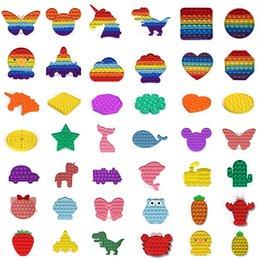 venda por atacado 100 estilos Empurre Bubble Fidget Toy Sensory Autism Especial Precisa Stress Reversão Brinquedos Adulto Crianças Engraçado Antistress Fidget Brinquedos