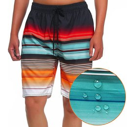 Men's Quick Dry Striped Swimwear Board Shorts with Draw String & Mesh Lining for Swim Surf Beach Pool Party Clearance MK6081 MK6039