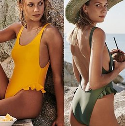 Discount sexy one piece swimwear triangle Luxury Designer Swimsuit New Backless Triangle One Piece Swimwear for Women Vest Sexy Bikini Bathing Suit