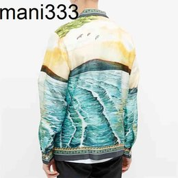 Wholesale silk shirt men for sale - Group buy OEM Custom luxurious camp collar long sleeve all over print silk shirt for men