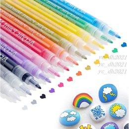 12 Renkler Boyama Kalem Akrilik Boya Işaretleyicileri Set Su Tabanlı Sanat Marker Kalem 0.7-2mm İnce Ucu DIY Craft Tuval Seramik Cam Kırtasiye