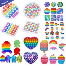 Tiktok DHL Rainbow Push Pop It Fidget Toy Sensory Push Bubble Fidget Sensory Autism Special Needs Anxiety Stress Reliever for Office Workers Fluorescen gift on Sale