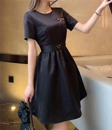 Women Dress Shirt For Spring Summer Outwear Casual Style With Budge Letter Lady Slim Dresses Belt Pleated Skirt Button Zipper Bust Tops on Sale