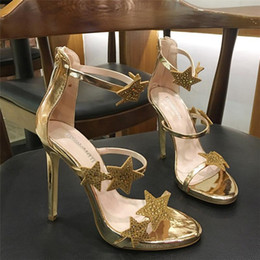 black platform strappy heels 2021 - Fashion Women Pumps Gold Silver Crystal Strappy Ankle Platform High Heels Shoes Stiletto 10cm Sandals