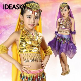 Wholesale dancers dresses for sale - Group buy dress girls belly dresses dancer costume clothes with skirts top veil bellydance set bollywood dance costumes for kids LS