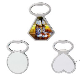 Heat Transfer Metal Beer Bottle Opener Fridge Magnet Sublimation Blank DIY Corkscrew Household Kitchen Tool 3 Style CCA7234 on Sale