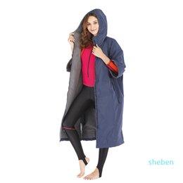 Wholesale dry robe waterproof hoodie poncho wet suit dryrobe with microfiber terry toweling lining 210324