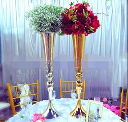 holiday party centerpieces 2021 - Royal Gold Silver Tall big Flower Vase Wedding Table Centerpieces Decor Party Road Lead Holder Metal Rack For DIY Event