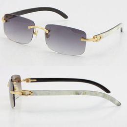 Großhandel verkauft stil 8200757 sonnenbrille original echt natürlich schwarz schwarz und weiß vertikal streifen büffel horn randlos 8200758 männliche weibliche gläser unisex im Angebot