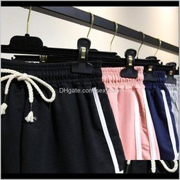 wholesale fashion sweatpants NZ - Delivery For Womens 2021 Shorts Apparel Women Clothing Drop Short High Waist Wide Leg Summer Black Sweatpants Harajuku Vintage Fashion