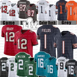 Justin Fields 87 Rob Gronkowski 12 Tom Brady 16 Trevor Lawrence Football Jersey 2 Zach Wilson 1 Travis Etienne 9 Mike Evans 13 Chris Godwin 14 Devin White Fournete Sapp im Angebot