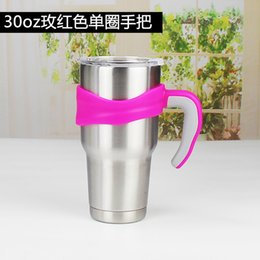 stainless steel tumbler holder UK - Drinking handle stainless steel mug 5 kind color soft grip holder for 30oz tumbler 271 S2 4QUO TWXD