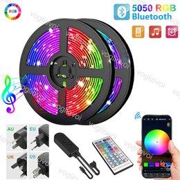 Wholesale Led Strip Light 5M 10M 15M 20M 5050 DC12V 16.4ft 32.8ft 50ft 66ft Multicolor With Bluetooth 44keys Controller AC100-240V Adapter HDTV TV Desktop Screen Background EUB