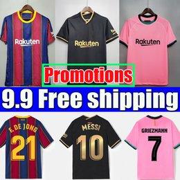 venda por atacado Camisa de futebol Barcelona BARCA 20 21 22 camiseta futbol ANSU FATI 2021 2022 MESSI GRIEZMANN F.DE JONG Camisa maillots de futebol manga comprida feminino masculino conjunto kit