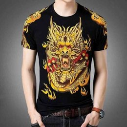 chinese dragon men t shirt UK - Oversized Men Chinese Dragon 3D T Shirt For Boy Black Summer Short sleeve