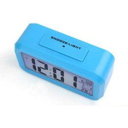 desk calendar thermometers UK - Smart Sensor Nightlight Digital Alarm Clocks with Temperature Thermometer Calendar,Silent Desk Table Clock Bedside Wake Up Snooze ZZE5747