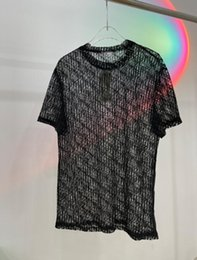 ingrosso maglietta bianca delle donne del merletto-2021 Designer Mens Womens See through T shirt Lace Letters Man Paris Moda T Shirt Top Quality Tees Street Manica Corta Luxurys Tshirts Bianco nero