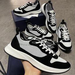 venda por atacado Espadrilles B25 Oblique Runner Sneaker Homens Plataforma Sapatos Preto Branco Camurça De Couro Instrutores Malha Palavra Sapatos Esportivos Casuais com Caixa