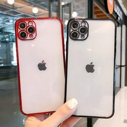 For iPhone 12 11 pro XR XS Max TPU Phone Cases Plating Bumper Camera Protection Soft Cover on Sale