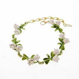 lily pearl Canada - Bangle Jewelry baked lacquer natural fresh water pearl Valley lily leaf anchor women's bracelet