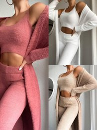 Dames 3 Stuk Trainingspakken Winter Sexy Home Wear Pak Casual Pyjama Set Lady Vrouwelijke Zachte Warme Lange Mouw Vest Vest Broek