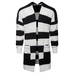 Wholesale striped cardigan sweater black white for sale - Group buy Cardigan Mens Collared Cardigan Jackets Men s Middle Long Black and White Striped Printed Knitted Sweater Jackets