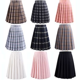 ingrosso uniformi rosa scuole-HARAJUKU Black Womens estate vita alta anime gonne kawaii uniforme scolastica breve mini bianco rosa plaid gonna pieghettata