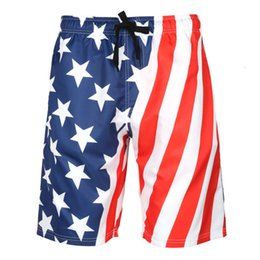 Wholesale flag board shorts resale online - Men s Beach Shorts with Mesh Lining Surfing Pants Swim Trunks USA America Flag Board Shorts Quick Dry Swimsuit Plus Size S XL