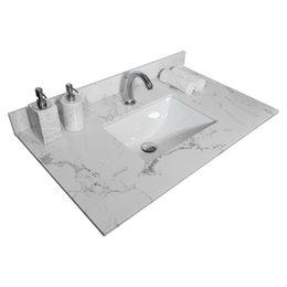 Склад США Другие туалетные принадлежности для ванны 31-дюймовые ванные комнаты Камень тщеславие Топ-инженерное белое мраморное цвет на Распродаже