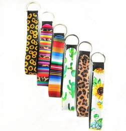 cool key rings Canada - Wristlet Keychains Lanyard Sunflower Leopard Serape Cactus Prints Strap Band with Split Ring Key Chain Holder Cool Key ps2197