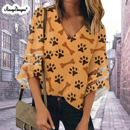 Discount cute spring blouses Noisydesigns 2021 Women Blouse Chiffon Shirt Top Spring Autumn Tops Long Sleeve Cute Dachshund Print Plus Size 2Xl Wholesale Women's Blouses