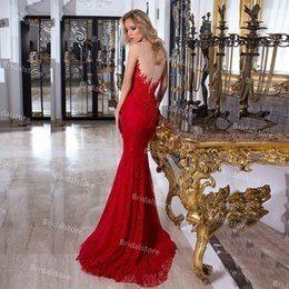 Discount red full one piece dress Elegant Red Full Lace Mermaid Prom Dresses 2021 Sheer Neck Slim Long Backless Evening Dress Vintage robes de soirée Engagement Second Party Gowns For Women